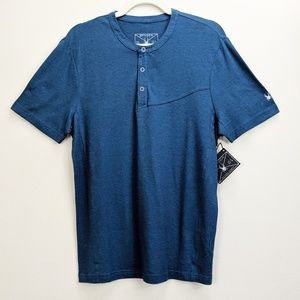 Spyder Bolt Short Sleeve Henley Shirt Blue Medium